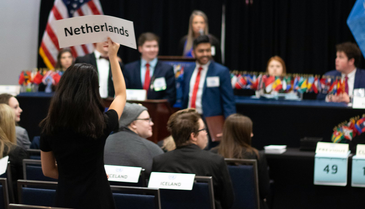 Students participating in the Georgia Center for Civic Engagement's Model United Nations program.