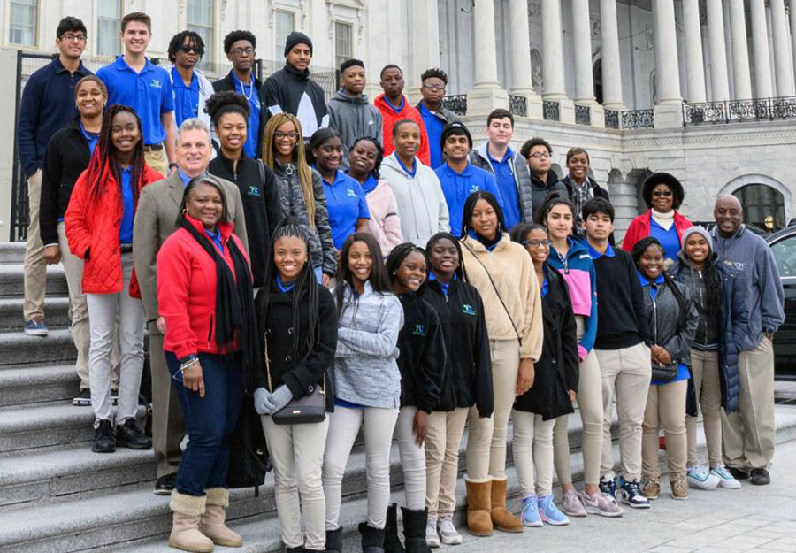 Members of the Chatham County Youth Commission with Rep. Buddy Carter on the steps of the U.S. Capitol.