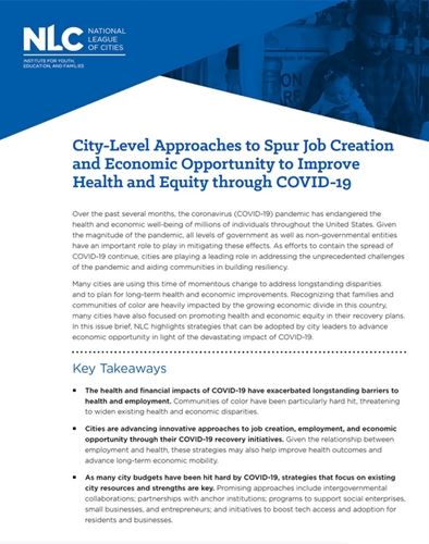 Spurring Economic Opportunity to Improve Health and Equity through COVID-19